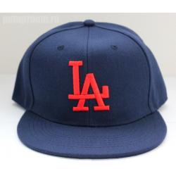 Темно-синяя бейсболка с прямым козырьком Los Angeles Snapback LA Navy Blue Red Logo