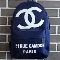 Синий рюкзак Chanel Rue Camdon Backpack Canvas Blue