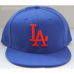 Синяя бейсболка с прямым козырьком Los Angeles Snapback LA Blue Red Logo