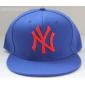 Синяя бейсболка с прямым козырьком New York Snapback NY Blue Red Logo