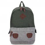 Зелёный/серый тканевый городской рюкзак Ozuko Backpack Gray Green Big