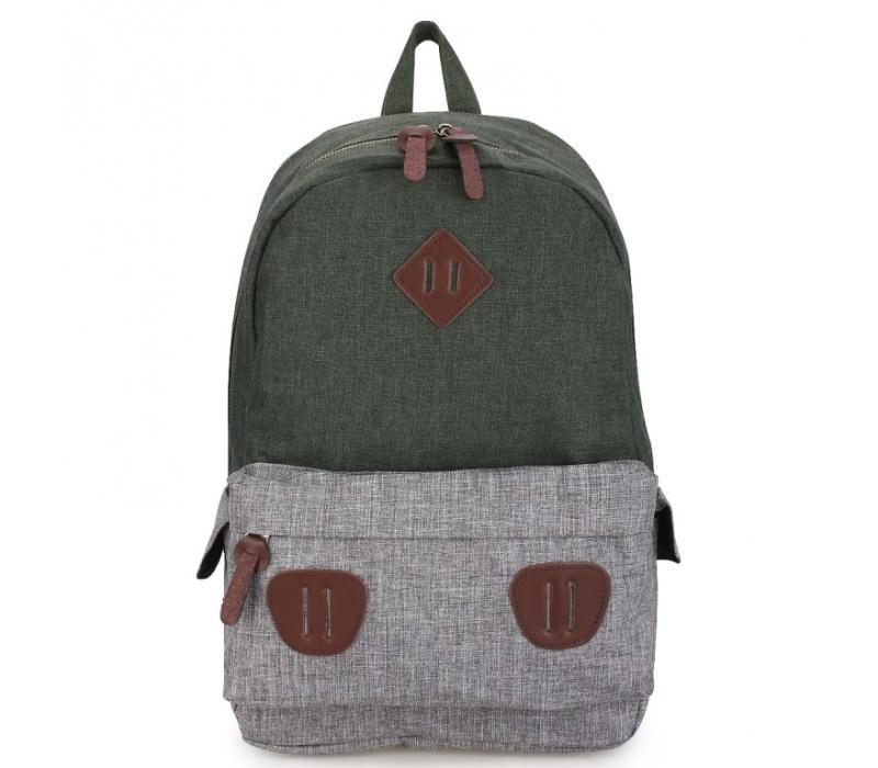 3d2903a1db77 -57% Зелёный/серый тканевый городской рюкзак Ozuko Backpack Gray Green Big