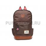 Коричневый женский рюкзак с кошачьими ушками Polyester Cat Ear Backpack Brown 2016