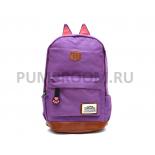 Фиолетовый женский рюкзак с кошачьими ушками Canvas Cat Ear Backpack Violet