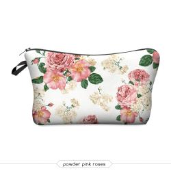 "Косметичка-пенал на молнии ""Розы"" Cosmetic Bag Powder Pink Roses 3D"