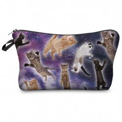 "Косметичка-пенал на молнии ""Коты в космосе"" Cosmetic Bag Powder Cats Spaces 3D"