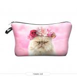 """Косметичка-пенал на молнии """"Кот с цветами"""" Cosmetic Bag Roses Cat 3D"""