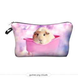 """Косметичка-пенал на молнии """"Морская Свинка"""" Cosmetic Bag Guinea pig clouds 3D"""