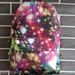 Розовый/бордовый рюкзак с космическим принтом Backpack Pink Red Starfall Galaxy
