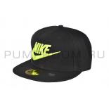 Чёрная бейсболка с прямым козырьком Nike Snapback Black Volt Logo