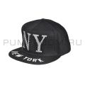 Чёрная/белая бейсболка в сетку New York Black White Snapback Net
