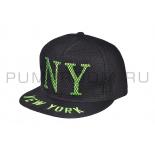 Чёрная/салатовая бейсболка в сетку New York Black Volt Snapback Net