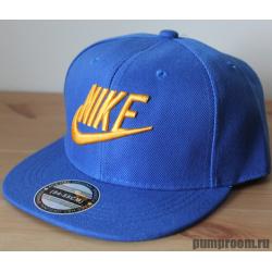 Синяя детская бейсболка с прямым козырьком Kid Snapback Nike Blue Gold