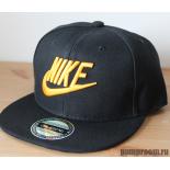 Чёрная детская бейсболка с прямым козырьком Kid Snapback Nike Black Gold