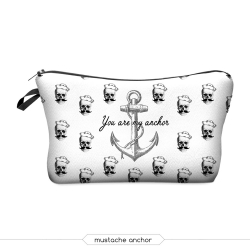 "Косметичка-пенал на молнии ""Якорь"" Cosmetic Bag Mustache Anchor 3D"