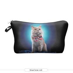 """Косметичка-пенал на молнии """"Кот в бабочке"""" Cosmetic Bag Blue Bow Cat 3D"""