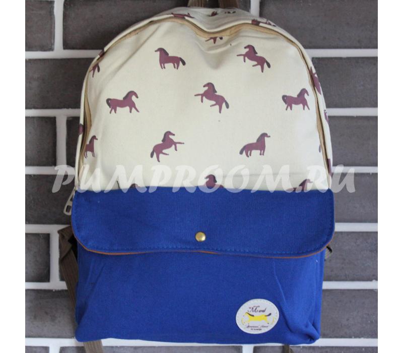 292247f1685a -61% Молочный/синий тканевый рюкзак с лошадьми Backpack Horse Milk Blue