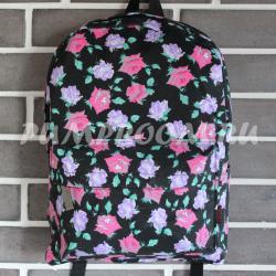 Чёрный цветочный рюкзак Flower Backpack Black Red Violet Rose Autumn