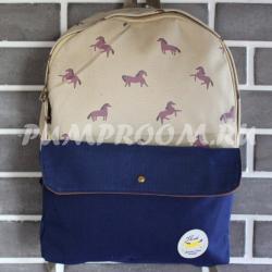 Коричневый/синий тканевый рюкзак с лошадьми Backpack Horse Brown Blue