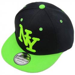 Чёрная/салатовая детская бейсболка Kid Snapback New York Black Volt