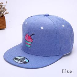 """Синяя бейсболка с прямым козырьком """"Пироженое"""" Blue Snapback Cake"""
