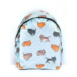 Голубой городской рюкзак с котятами Light Blue Cat Dots Backpack SL
