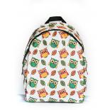 Белый городской рюкзак с совами White Owl Green Yellow Backpack SL
