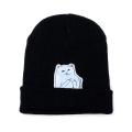 Чёрная зимняя шапка с кошечкой показывающей F*CK Beanie Ripndip Nermal Black