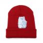 Красная зимняя шапка с кошечкой показывающей F*CK Beanie Ripndip Nermal Red