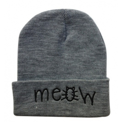 "Серая зимняя шапка ""Мяу"" Meow Winter Hat Gray"
