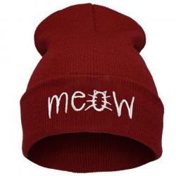 """Красная зимняя шапка """"Мяу"""" Meow Winter Hat Red"""