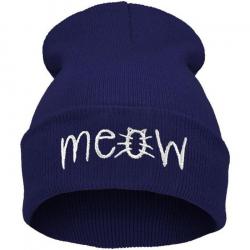 "Синяя зимняя шапка ""Мяу"" Meow Winter Hat Blue"