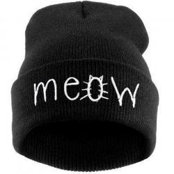 """Чёрная зимняя шапка """"Мяу"""" Meow Winter Hat Black"""