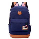 Тёмно-синий женский рюкзак с кошачьими ушками Canvas Cat Ear Backpack Dark Blue