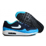 Синие мужские кроссовки Nike Air Max 1 GS Brave Blue/Summit White Black Summit White