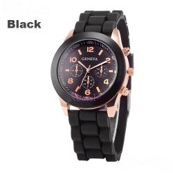 Чёрные силиконовые женские часы Geneva Black Watch
