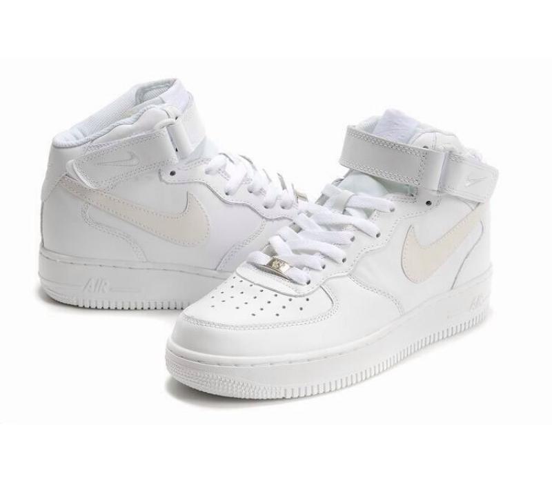 005315bb Белые высокие кожаные кроссовки Nike Air force 1 White Mid 07