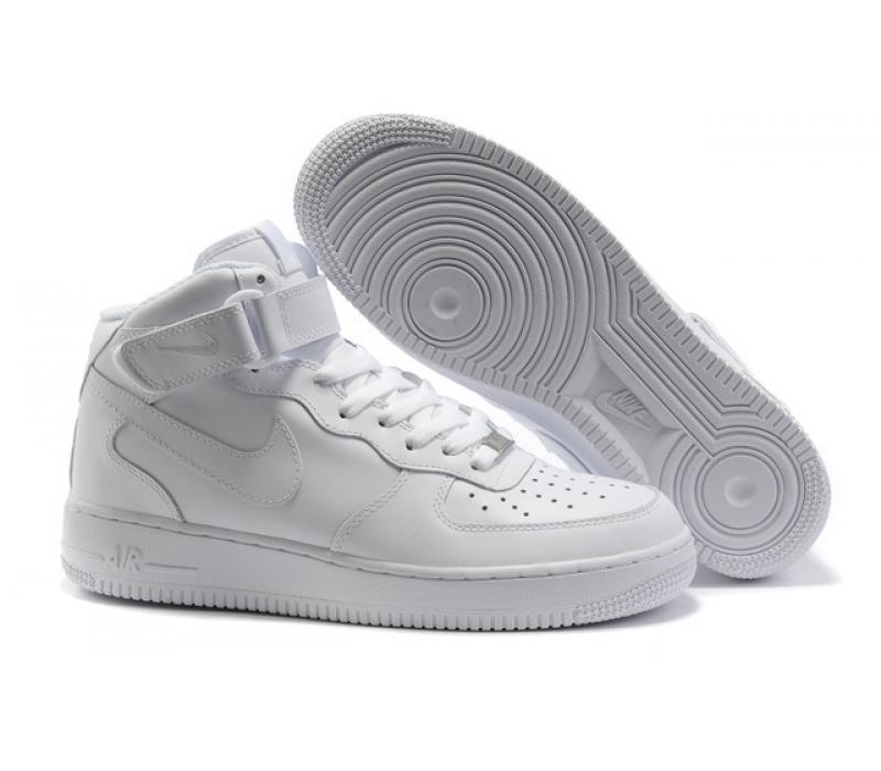 80bb160e -61% Белые высокие зимние кроссовки с мехом Nike Air force 1 White Mid Fur  Real