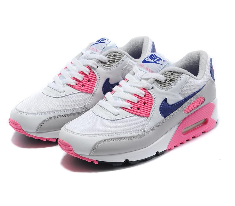 Бело розовые женские кроссовки Nike Air Max 90 - купить оригинальную ... f69712bef37