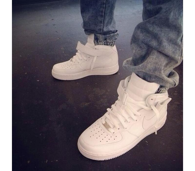 422d69d2 Белые высокие кожаные кроссовки Nike Air force 1 White Mid 07