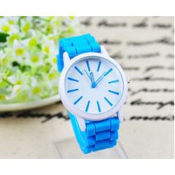 Голубые силиконовые женские часы Geneva Basic 2014 Light Blue Watch