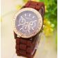 Коричневые силиконовые женские часы Geneva Black Watch со стразами