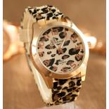 Леопардовые силиконовые женские часы Geneva Leopard Cream Watch