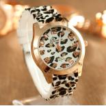 Леопардовые силиконовые женские часы Geneva Leopard White Watch