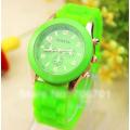 Салатовые силиконовые женские часы Geneva Light Green Watch