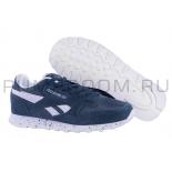 Синие замшевые женские кроссовки Reebok Classic Suede Blue Dots WMNS