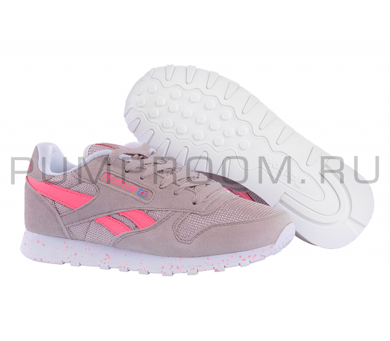 1bd89ca13cf5 -71% Бежевые розовые замшевые женские кроссовки Reebok Classic Suede Beige  Pink Dots WMNS