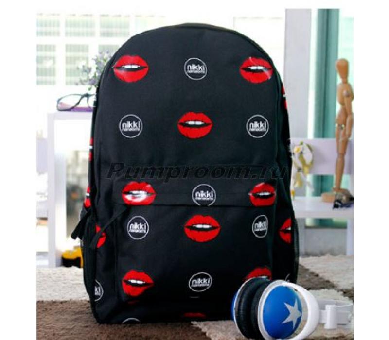 0cad73848679 -50% Чёрный рюкзак с губами Nikki Nanaomi Backpack Black Red Lips
